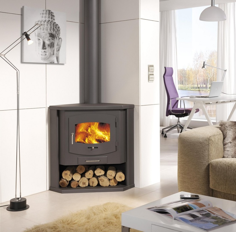 Corner Wood Burning Stove: Functional And Interior