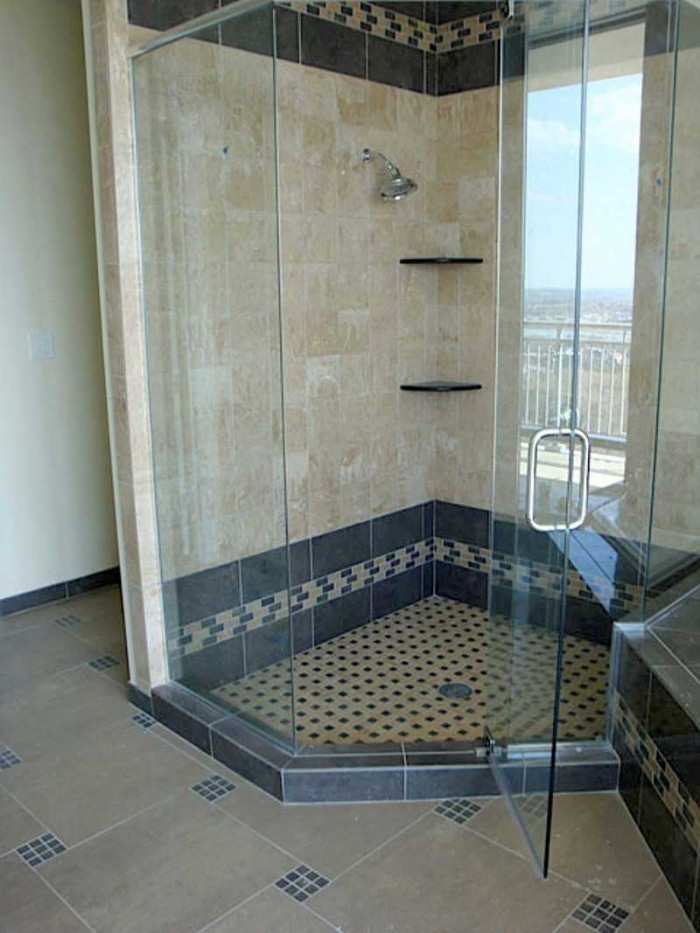 Mosaic Tiles Shower Floor System With Black Tiles Decoration Brown Marble  Shower Wall A Frameless Glass