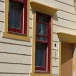newest outdoor window trim design with red wood finishing