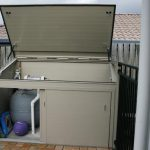 opened pool filter and other pool equipment storage made from metal