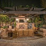 outdoor shabby wood roof for patio in rustic style a set of patio furniture made from wood an outdoor fireplace building