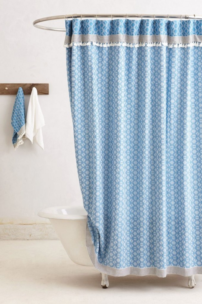 Oval Metal Curtain Rod In Shower Space With Clip Rings Feature And  Beautiful Blue Shower Curtain