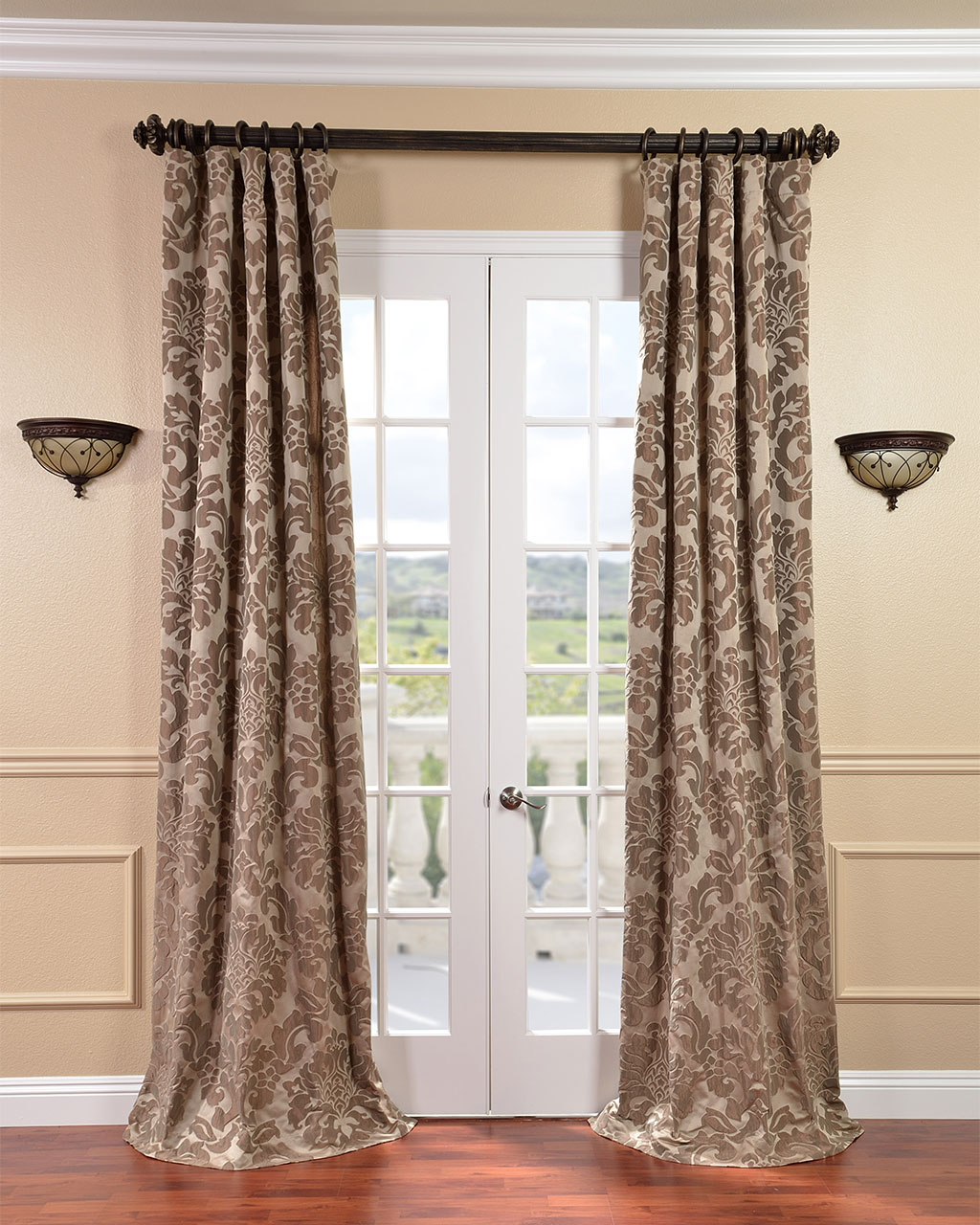 Lace and curtains the best window treatment for french for Wall to wall curtain