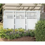 pool equipment enclosure in minimalist white wood small outdoor garden