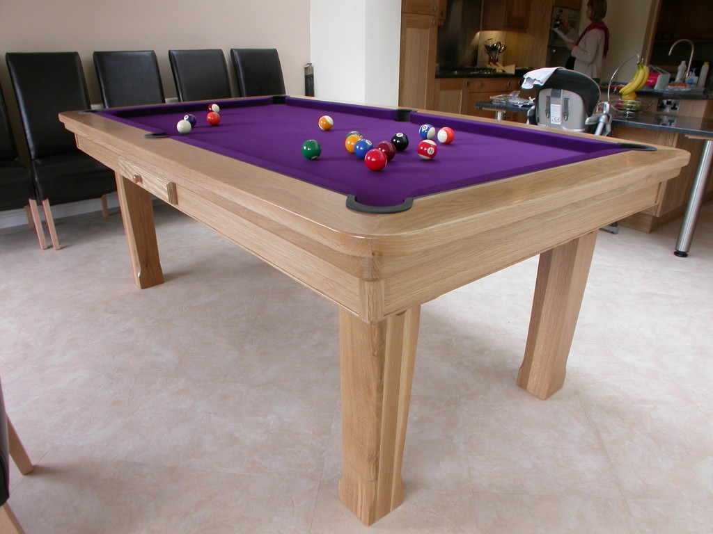 Pool Table For Private Billiard Corner In Bright Purple Surface With Some  Biliard Balls