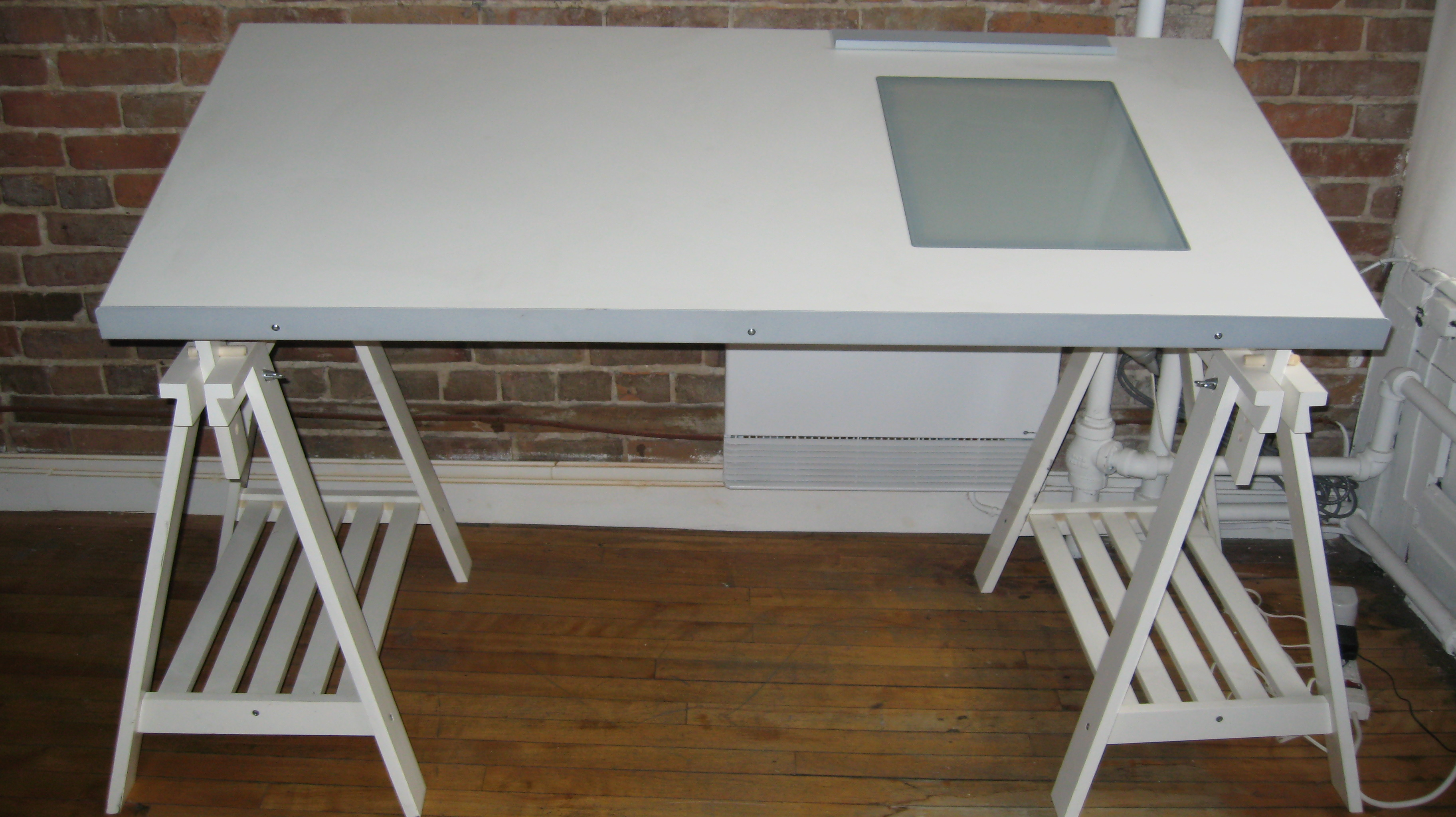 Pure White Drafting Desk With Small Gl Panel And Under Shelves