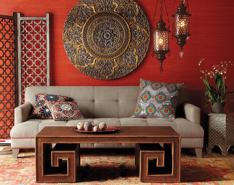 Red Wall Beautiful Moroccan Accent Wall Decor Lantern Shaped Lamp Gray Sofa Colorful Patterned Cushion Unique