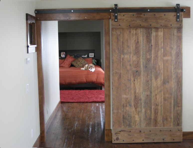 Rustic Barn Sliding Door For Bedroom A Kingbed Furniture With Red Bed  Covering Red Smooth Fury