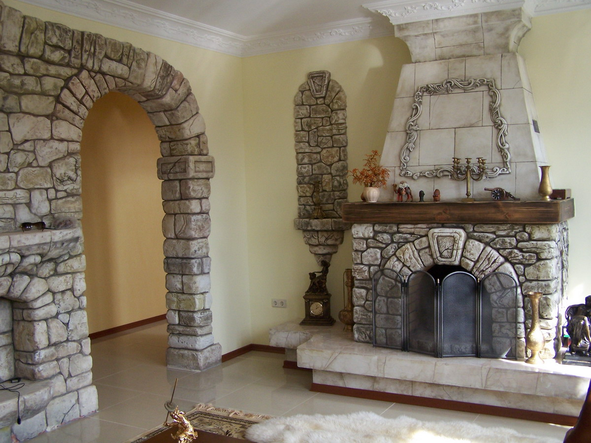 Create a rustic style on your fireplace with cedar mantels - Stone and wood fireplace ...