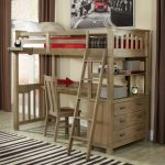 rustic loft bed set with desk-cabinet system unit casual wood chair cream-black strips patterns carpet