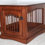 rustic style dog crate with clear lines
