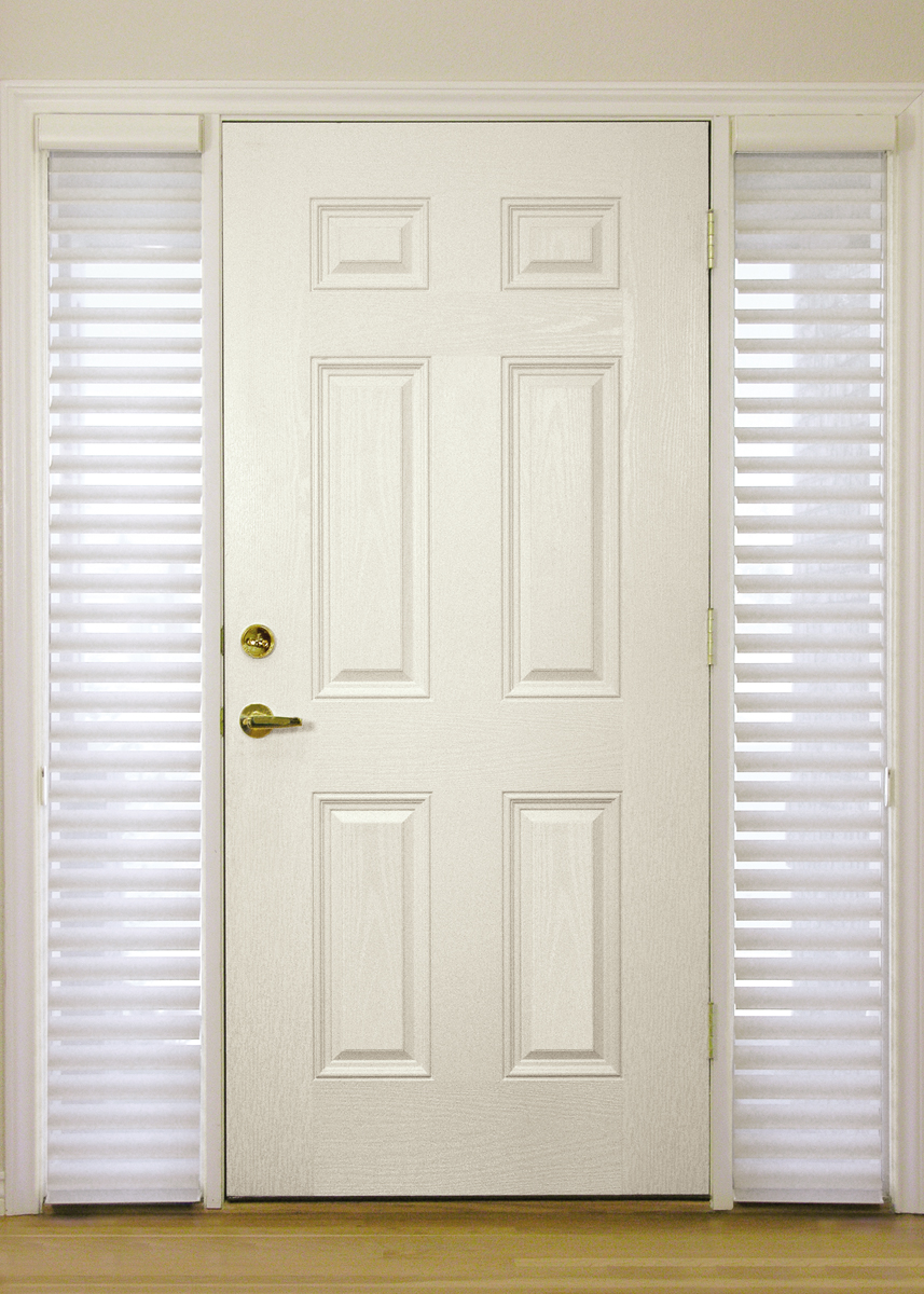 Sidelight Window Shades In White Casual And Simple White Main Door In A  Private Home
