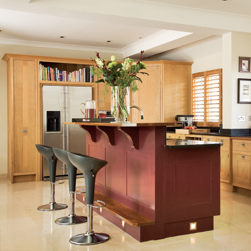 Open Kitchen With Bar Counter Seating And Chefs At Work: Kitchen Island With Bar Seating, Simple And Practical