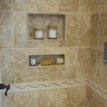 simple built-in shower shelves for storing bath supplies such as soap  shampoo hair conditioner etc