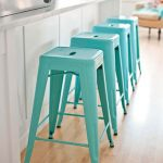 simple but elegant backless turquoise bar stools white kitchen laminated wood floor for kitchen