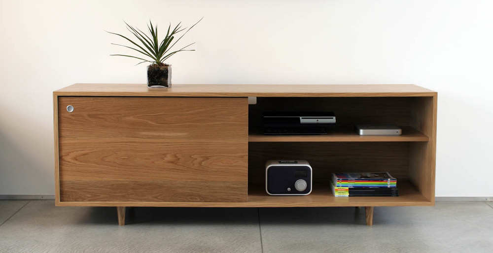 Great Simple But Elegant Credenza Set In Wood Material A Decorative Plant Some  Electronic Items A Pile Gallery