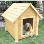 simple but elegant dog house with light cream wood staining