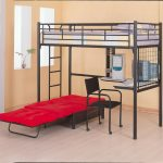 simple loft bed with corner desk and folding bed unit black working chair with wheels solidwood flooring pastel-color wall system