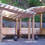 Small Adorable Cretive Classic Traditional Outdoor Pavilion Plan With All Wooden Made Ocncept With Classic Design And Has Small Pergola Ceiling With White Roofing