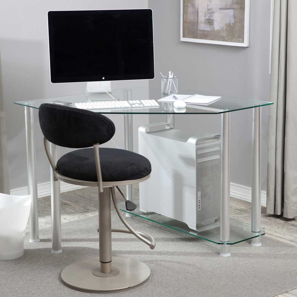 small corner desk with transparent glass panel a set of monitor a keyboard wireless mouse comfy