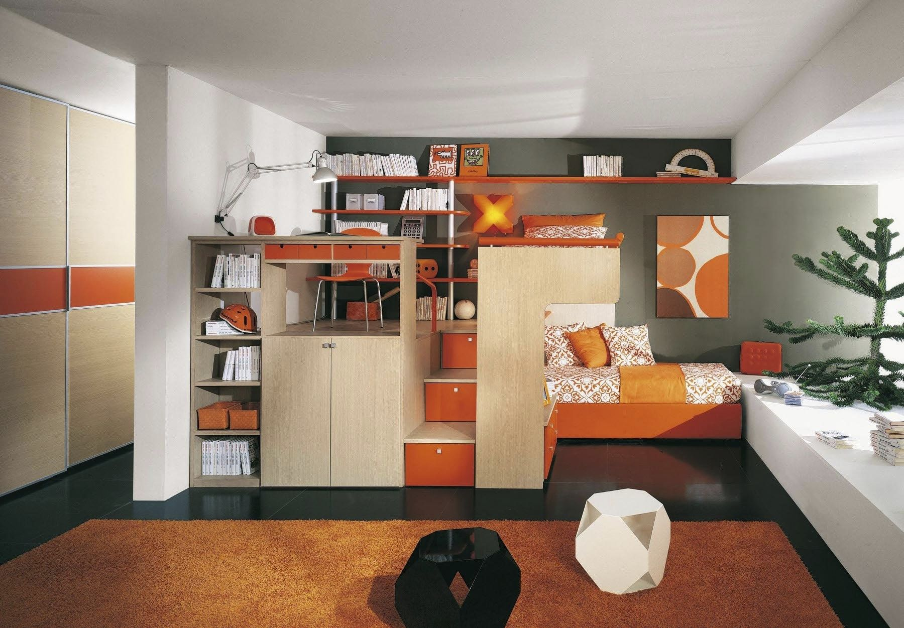small room furniture solutions. small modular sofa in orange tone long white buffet under glass window an elevated bed with room furniture solutions s