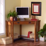 small-size wood  corner desk for computer with drawer a fired-clay pot with its plant decoration a picture frame an abstract painting with double frames some rattan boxes a pile of books a set of monitor
