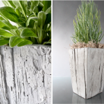 smaller and higher box of concrete planter with green and fresh plant decoration