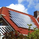 solar panels roof on top luxurious house