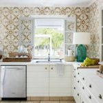 Spanish Wallpaper For Kitchen A Kitchen Set In Dominant White  Beautiful Table Lamp In Green Body