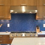 sparkling blue acrylic paint for kitchen backsplash two units of electri plugs modern kitchen appliance cookware container and knives container kitchen cabinetry for top and under cabinet