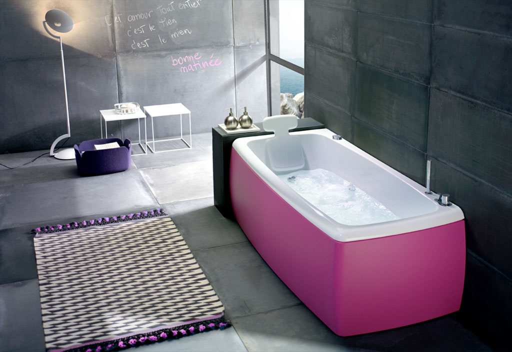 square pink bathtub with back feature twin metal bottles decorations twin mini white tables a very unique standing lamp white-purple big bathroom mat