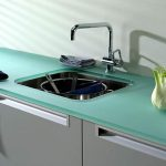 tempered glass countertop in tosca color square stainless steel sink and faucet