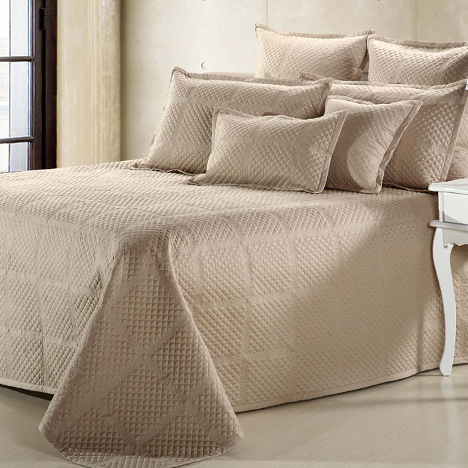 Textured Patterns Grey Coverlet With Pile Of Textured Patterns Grey Pillows  White Classic Console
