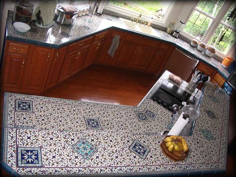 Tile Countertop With Small And Big Patterns A Built In Electric Stove  Square White Sink