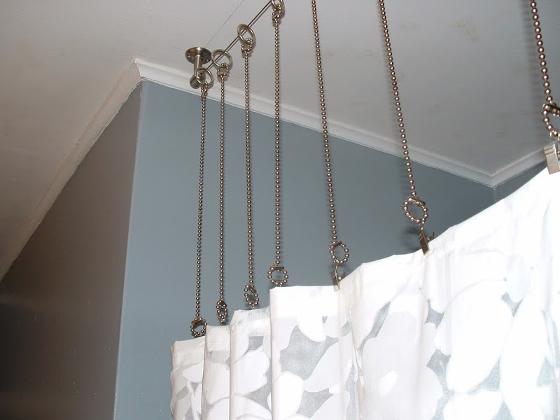 Tiny Stainless Steel Curtain Rod With Double Clip Rings Feature A White For Shower Space