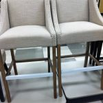 twin bar stools with comfy grey seating and back feature