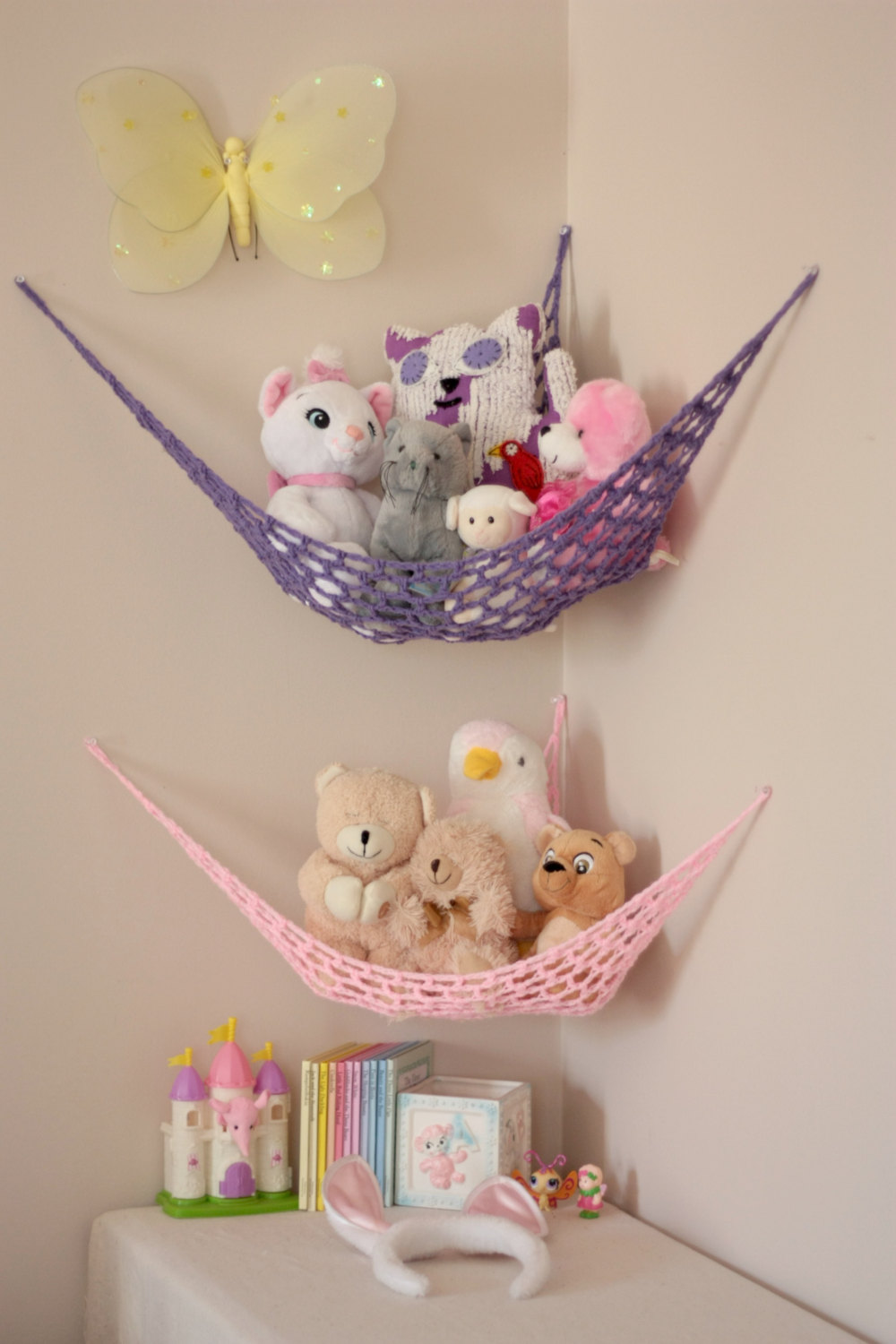 Two Corner Hanging Stuffed Animals Storages In Sweet Purple And Pink A  Yellow Butterfly For Wall