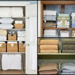 two types of linen closet organizer designs with full of linen kinds and rattan boxes as the additional storage