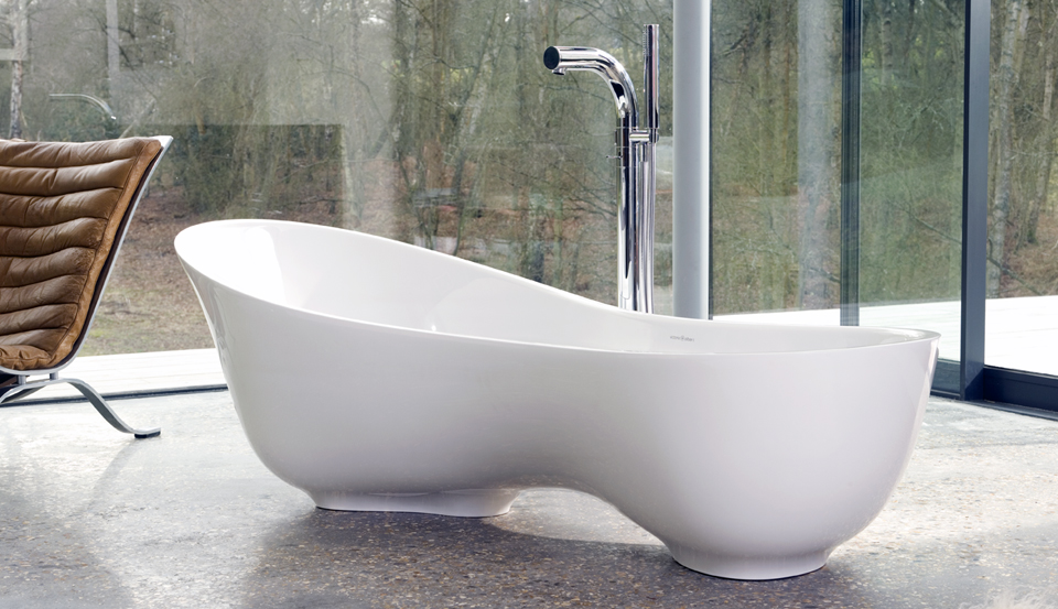 Uniqe Style Bathtub With High Stainless Steel Water Tap In White Tone  Luxurious And Expensive Granite. Victoria And Albert ...