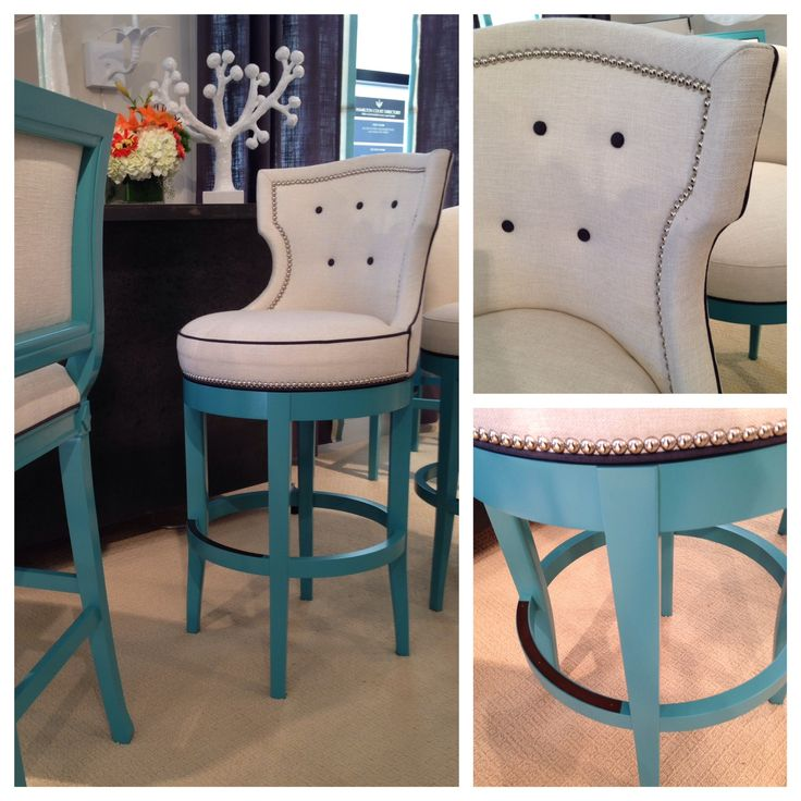 unique and luxurious turquoise bar stool with cozy back and seating features & Turquoise Bar stools: Brighten Your Kitchen Bar | HomesFeed islam-shia.org