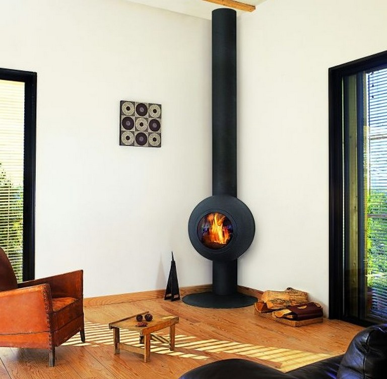 Corner Wood Burning Stove on Modern House Kitchen Designs