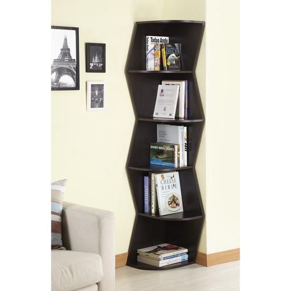 Unique Shaped Corner Bookshelves In Black Plenty Of Books Collections Eifel Picture