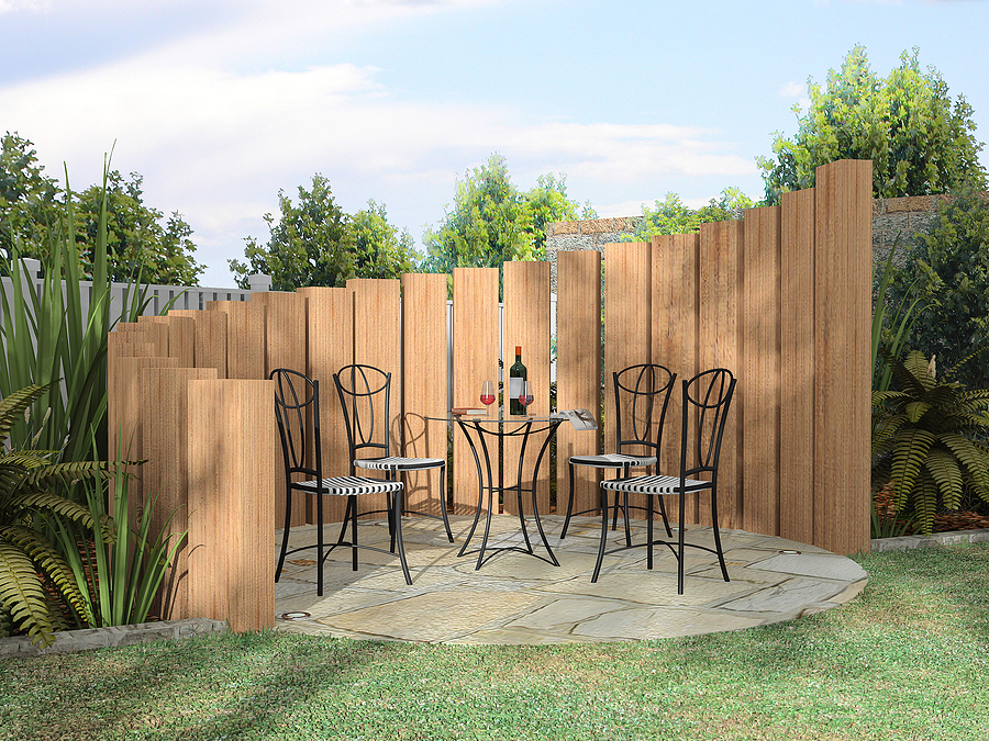 Unique Style Outdoor Patio Fence In Wood Material Simple Black Metal Patio  Furniture With Black