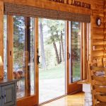 up and down window blinds for large sliding glass door in rustic style