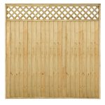 vertical strips model of lattice wood fence system with diamond-cut shape feature on the top