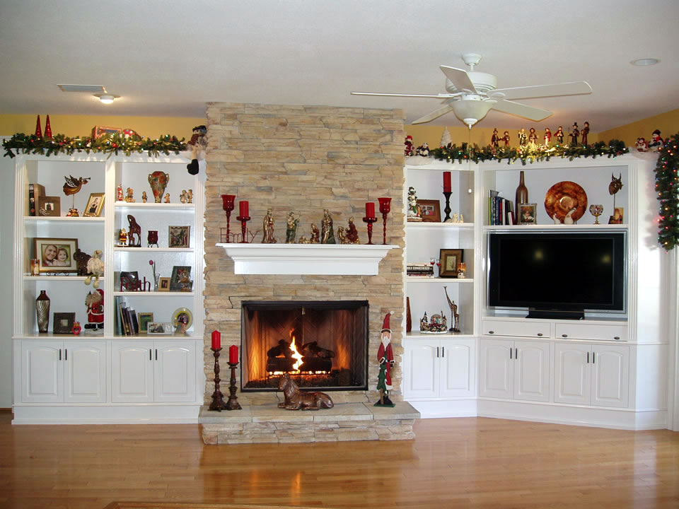 Built In Cabinets around Fireplace Give Special Accent to