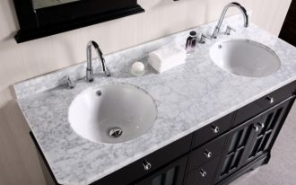 white granite top vanity with white round deep porcelain sinks and stainless steel faucets