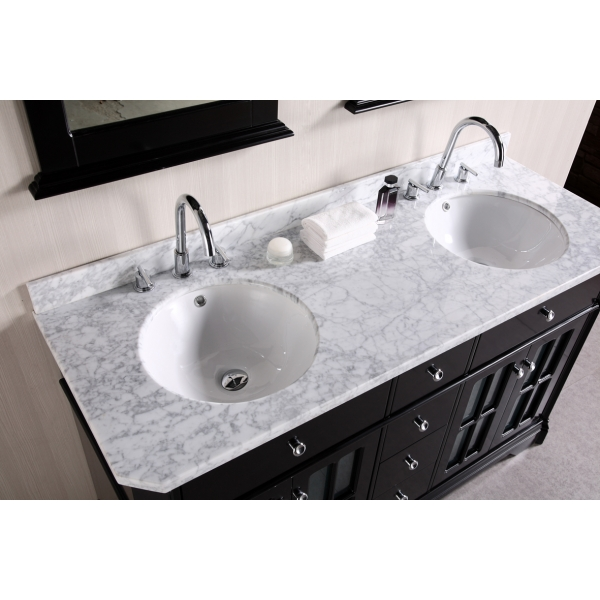 ... Bathroom 48 Inch Double Sink Vanity White Marble Countertop Rectangle  Wooden Framed Wall Mirror Design Dark ...