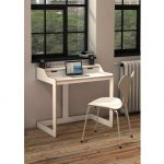 white slim monitor desk with simple white chair a laptop set  double mini audio system rustic wood planks floor