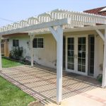white wood lattice column as patio rooftop with pillars